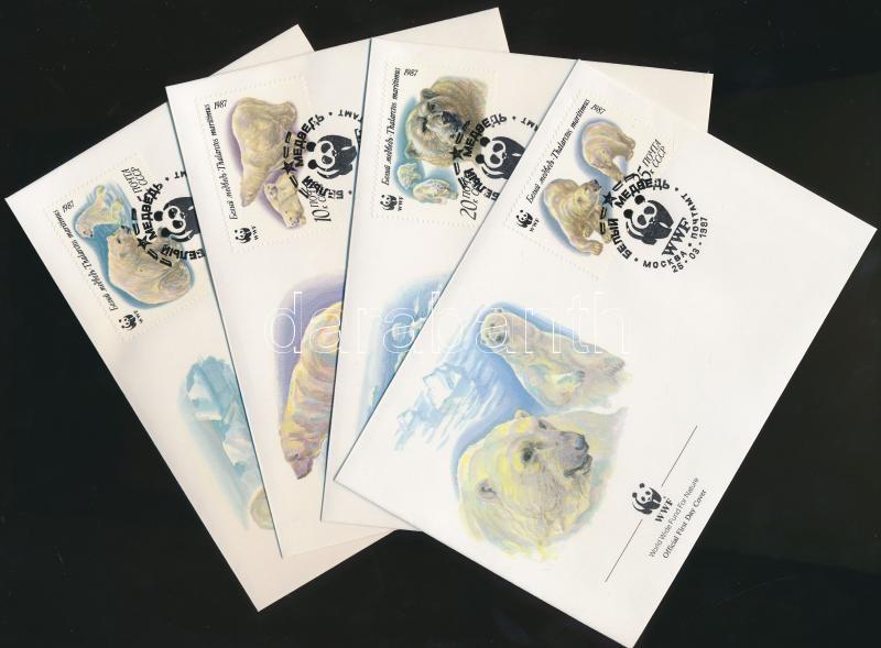 WWF Polar bears set + 4 FDC, WWF: Jegesmedvék sor + 4 FDC