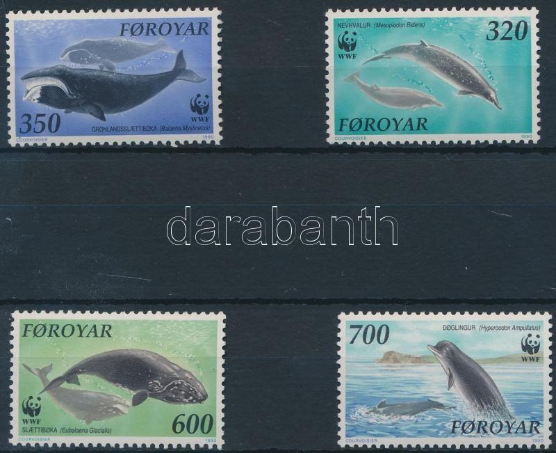 WWF Whales set + 4 FDC (gum disturbance), WWF: Bálnák sor + 4 FDC (gumihiba)