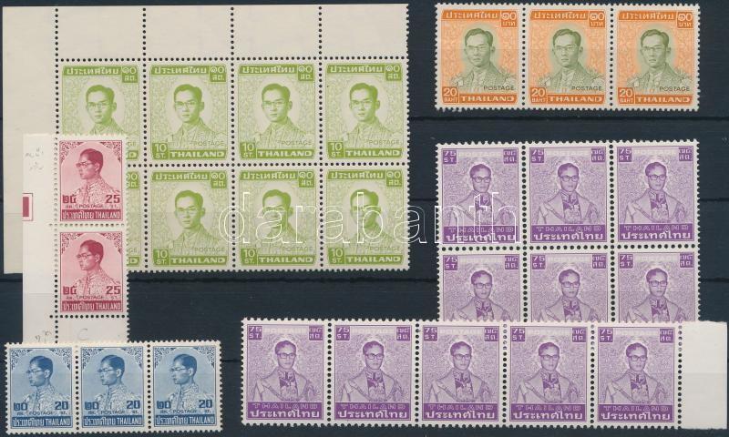Thailand Definitive: King Bhumibol Aduljadeh 27 stamps, Thaiföld Forgalmi: Bhumibol Aduljadeh király 27 db bélyeg összefüggésekben