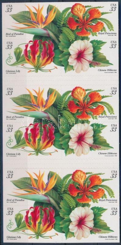Tropical plants self-adhesive stamp-booklet, Trópusi növények öntapadós bélyegfüzet