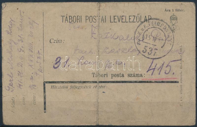 """Field postcard """"FP 537 a"""", Tábori posta levelezőlap """"FP 537 a"""""""