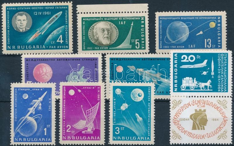 1961-1964 Space Exploration stamp + 1 coupon stamp + 3 diff sets, 1961-1964 Űrkutatás motívum 1 önálló  + 1 szelvényes érték + 3 klf sor