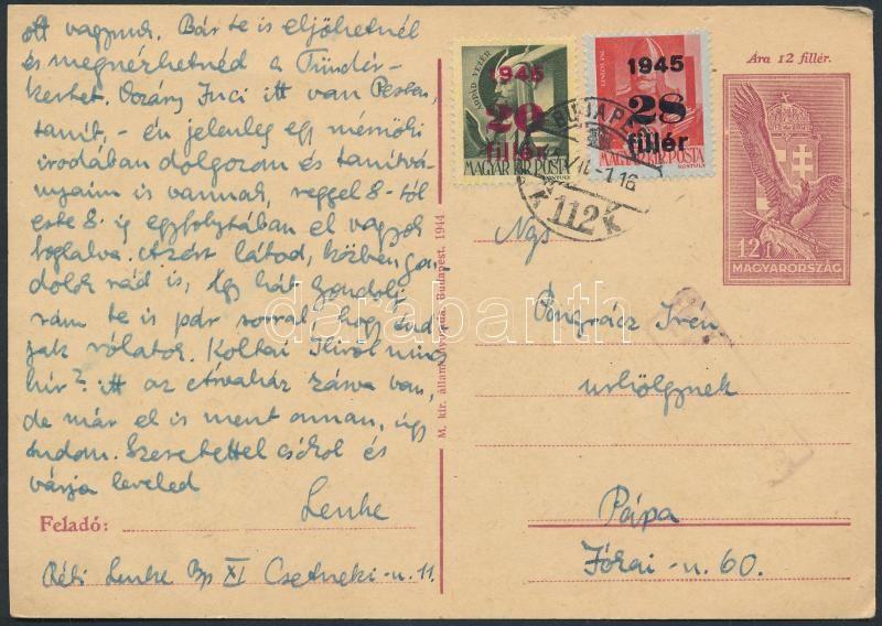 Inflation cover, (1. díjszabás) Díjkiegészített  díjjegyes levelezőlap Pápára, cenzúrázva