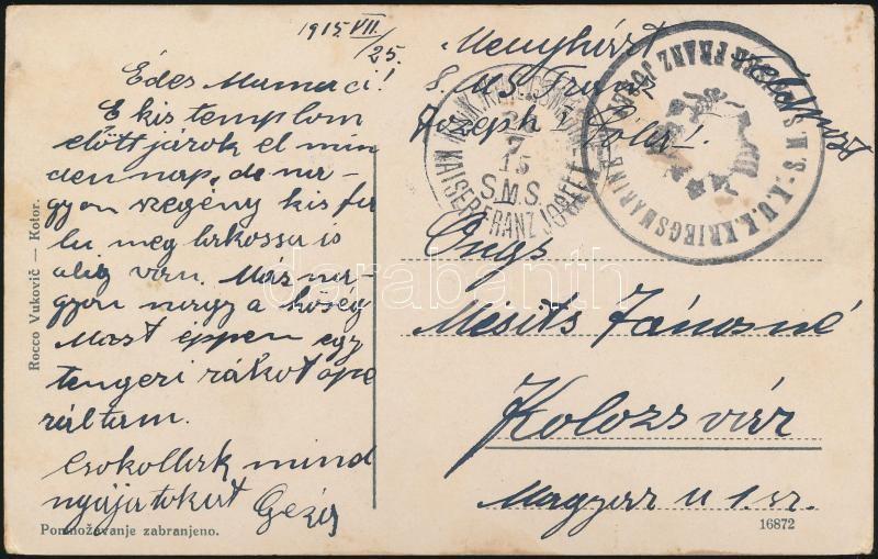 """Képeslap haditengerészeti postával """"SMS FRANZ JOSEF I."""", Postcard """"SMS FRANZ JOSEF I."""""""
