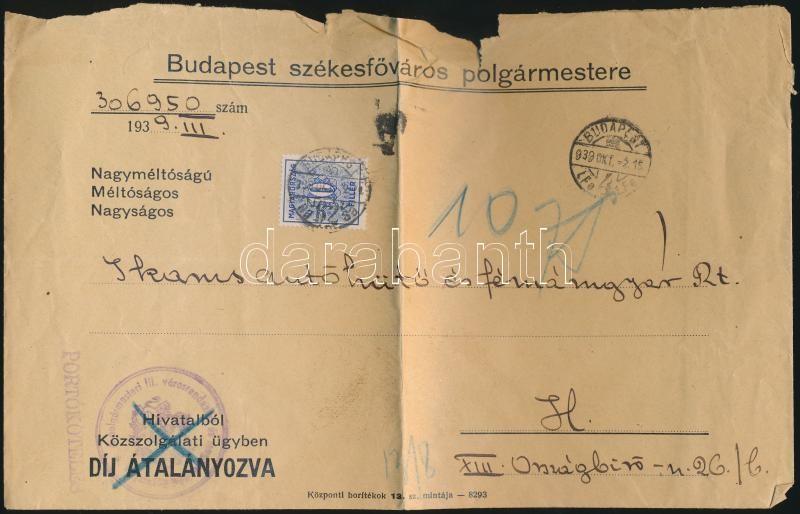 Postage due cover, Levél 10f portóval