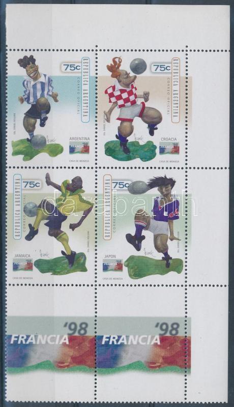 Football World Cup, France set corner block of 4 with coupon, Labdarúgó VB, Franciaország sor ívsarki szelvényes 4-es tömbben