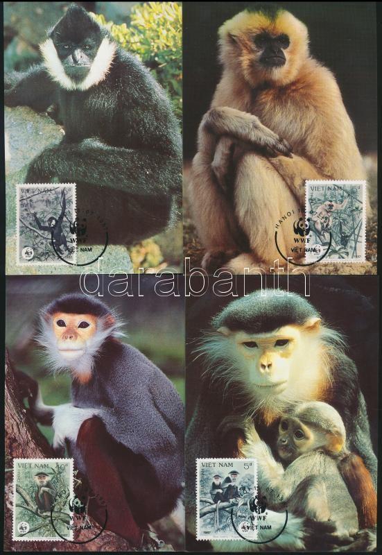 WWF: Gibbons set + 4 CM + 4 FDC, WWF: Gibbonok sor + 4 db CM + 4 db FDC
