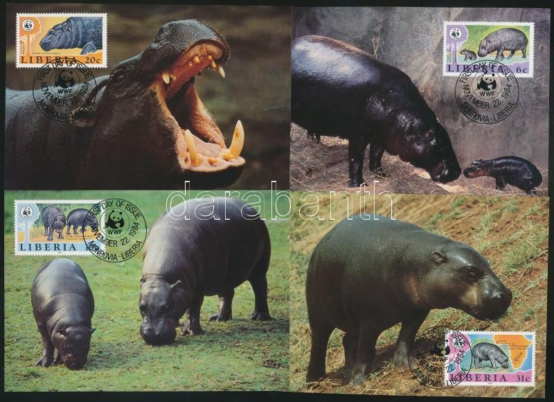WWF: Hippos set + 4 db CM + 4 FDC, WWF: Vízilovak sor + 4 db CM + 4 FDC