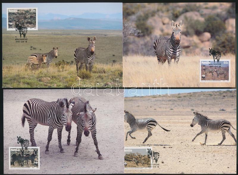WWF Hartmann's Mountain Zebra set + 4 CM + 4 FDC, WWF Hartmann-hegyizebra sor + 4 CM + 4 FDC-n