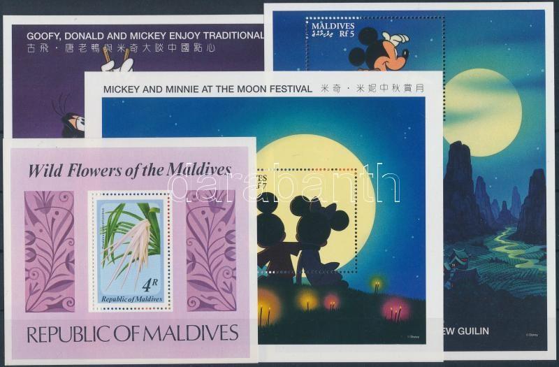 Maldív-szigetek 17 klf bélyeg közte sorok + 5 klf blokk (2 db stecklapon)