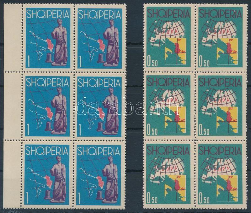Europe 2 stamps from set in blocks of 6, Európa sor első 2 értéke 6-os tömbben
