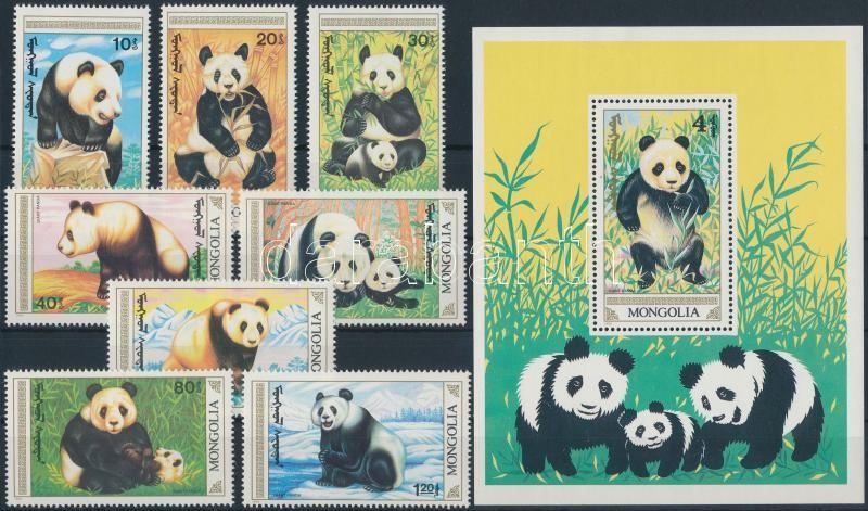 Panda set + block (paper creases on the block), Panda sor + blokk (papírránc a blokkon)