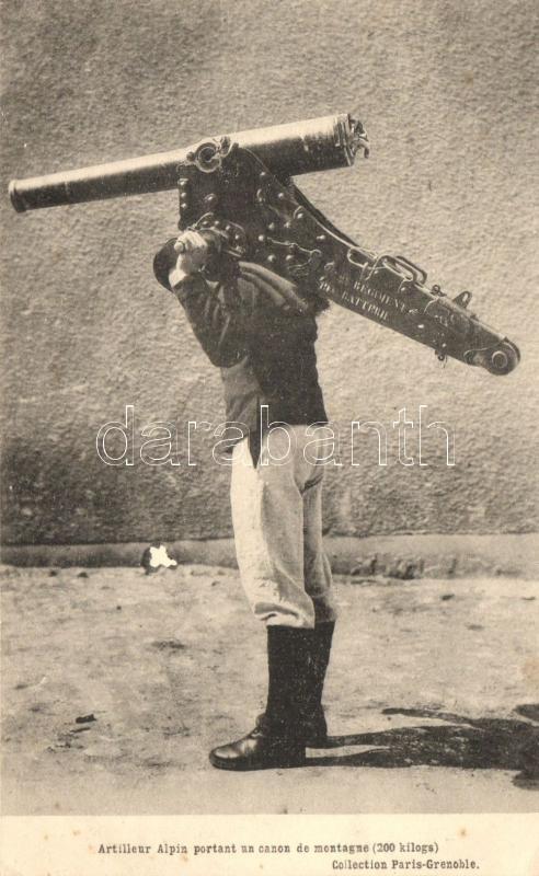 Artilleur Alpin portant un canon de montagne, 2e Régiment 19e batterie / WWI French alpine artillery, Ágyút szállító katona, 2. francia hegyi tüzérezred 19. zászlóalj