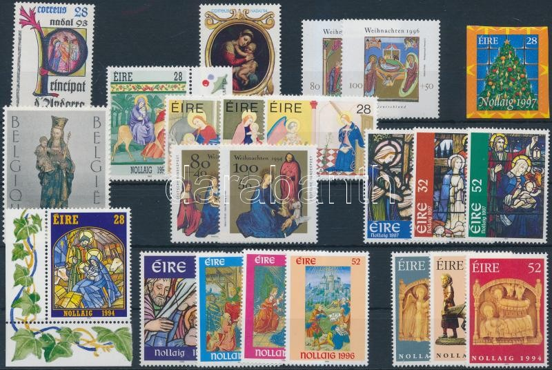 Christmas 1993-1997 23 diff stamps with sets, Karácsony motívum 1993-1997 23 klf bélyeg, közte sorok