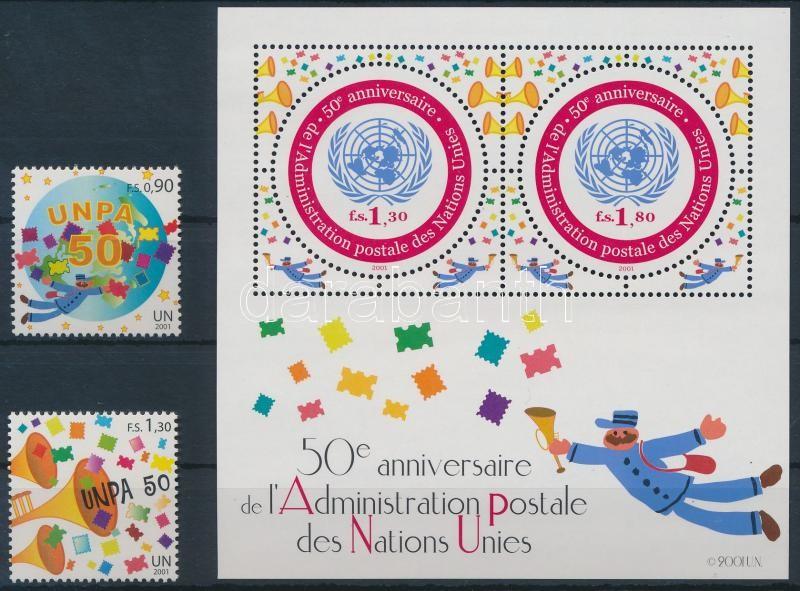 Postal Management of the United Nations + block, 50 éves az ENSZ postaigazgatása + blokk