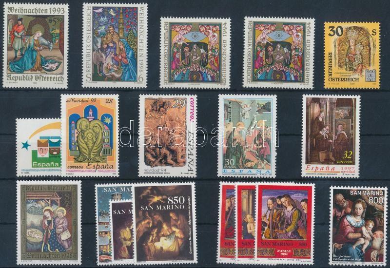 1993-1998 Christmas 18 diff stamps with sets, Karácsony motívum 1993-1998 18 klf bélyeg, közte sorok