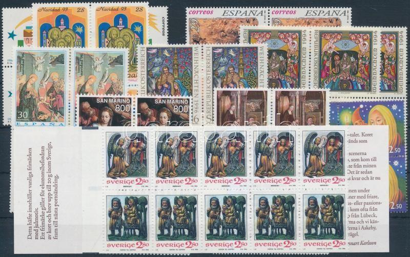 1993-1997  Christmas 11 diff blocks of 4 with sets + 1 stampooklet, Karácsony motívum 1993-1997  11 klf négyestömb, közte sorok +1 bélyegfüzet