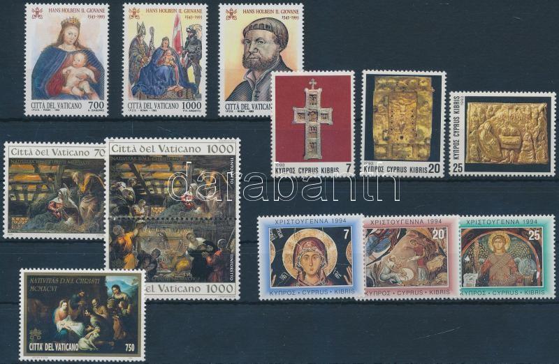1993-1996 Christmas 13 diff stamps with sets, Karácsony motívum 1993-1996 13 klf bélyeg, közte sorok