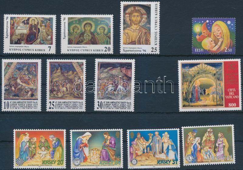 1996-1998  Christmas 12 diff stamps with sets, Karácsony motívum 1996-1998 12 klf bélyeg, közte sorok