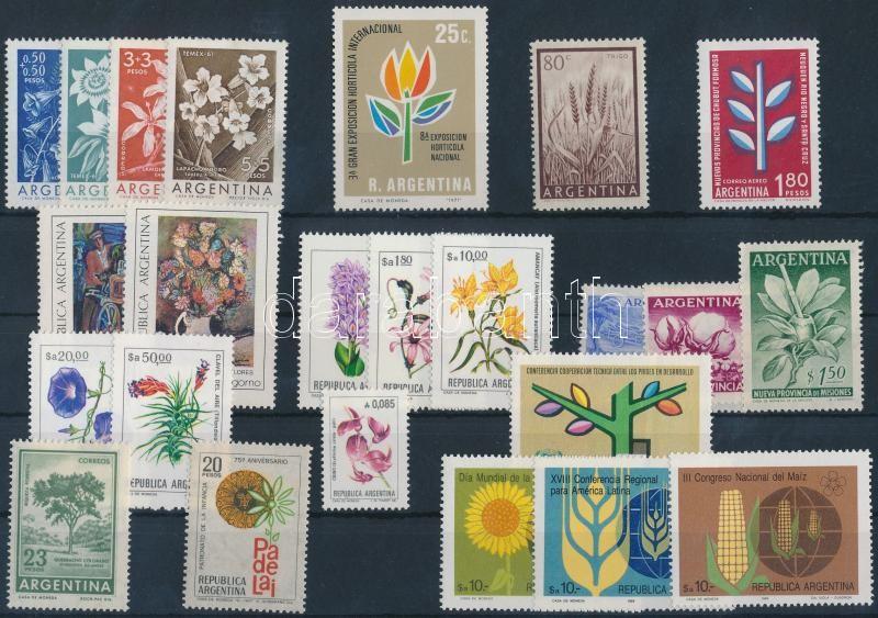 Argentina Flowers 1954-1985 24 diff stamps with sets, Argentína, Virág motívum 1954-1985 24 klf bélyeg, közte sorok