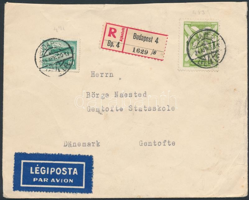 Registered airmail cover to Denmark, Ajánlott légi levél Dániába