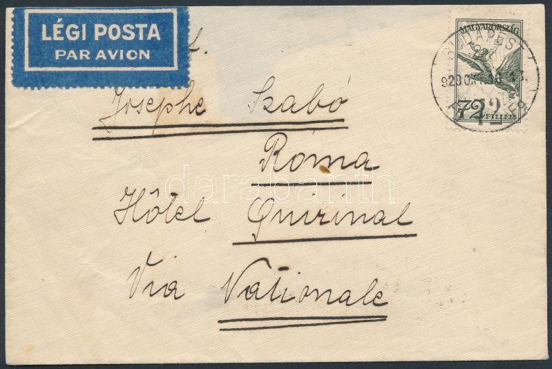 Airmail cover to Roma, Légi levél Rómába