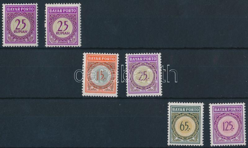 1973-1976 Postage due stamps 1 set + 2 individual values, 1973-1976 Portó bélyegek 1 sor + 2 klf önálló érték
