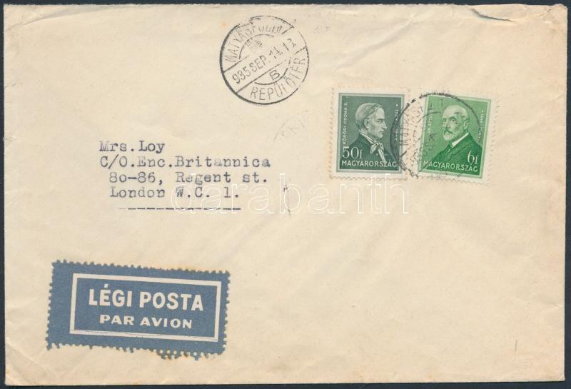 Airmail cover to London, Légi levél Londonba
