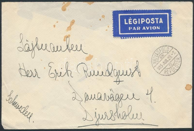 Airmail cover to Sweden, Légi levél Svédországba