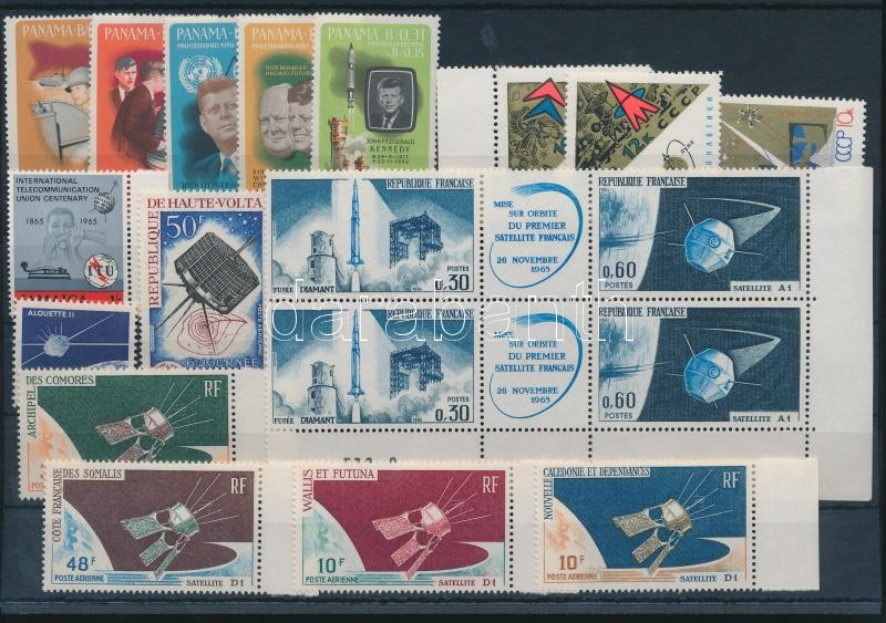 Space Exploration 1965-1966 15 diff stamps + 1 corner block of 6, Űrkutatás motívum 1965-1966 15 klf bélyeg + 1 ívsarki hatstömb