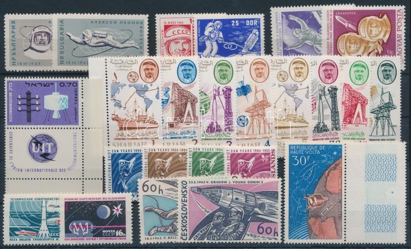 Space Exploration 24 diff stamps with sets, Űrkutatás motívum 24 klf bélyeg, közte sorok,  összefüggések