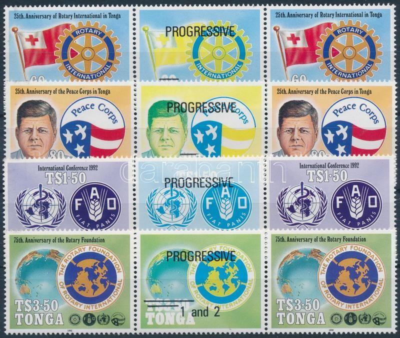 Rotary International Organizations anniversaries set in coupon stripes of 3, Rotary Nemzetközi Szervezetek évfordulói sor szelvényes hármascsíkokban