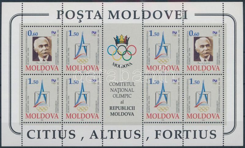 Centenary of International Olympic Committee mini sheet, 100 éves a Nemzetközi Olimpiai Bizottság kisív
