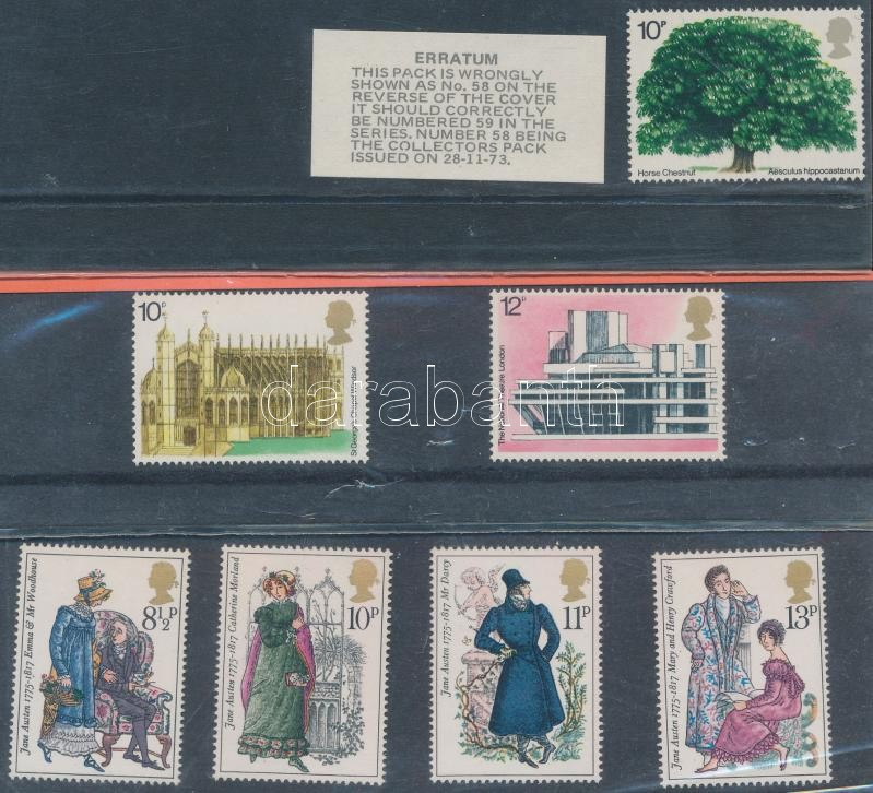 1974-1975 8 sets in decorative holder, 1974-1975 8 klf sor díszcsomagolásban