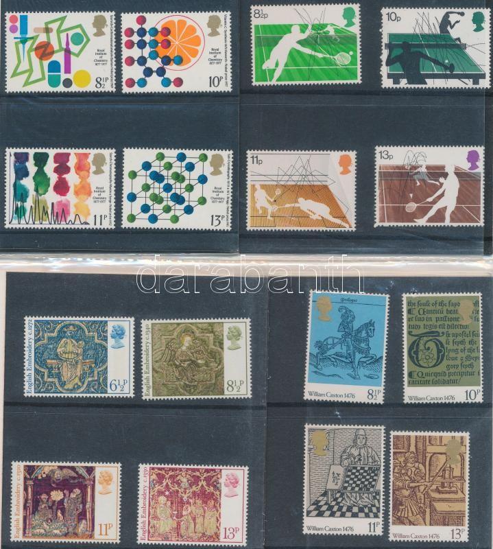 1976-1977 7 sets in decorative holder, 1976-1977 7 klf sor díszcsomagolásban