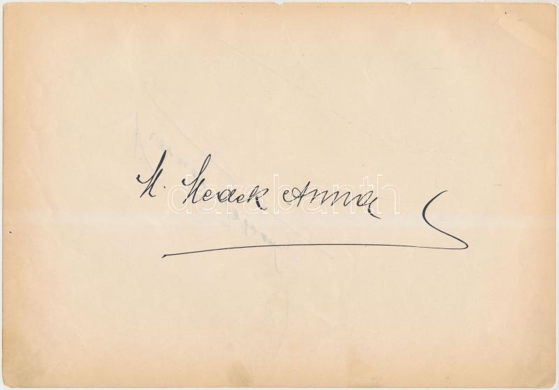 Medek Anna (1885-1960) drámai szoprán operaénekes saját kezű aláírása papírlapon, 16x24cm + ugyanazon a papírlapon másik azonosítandó aláírás