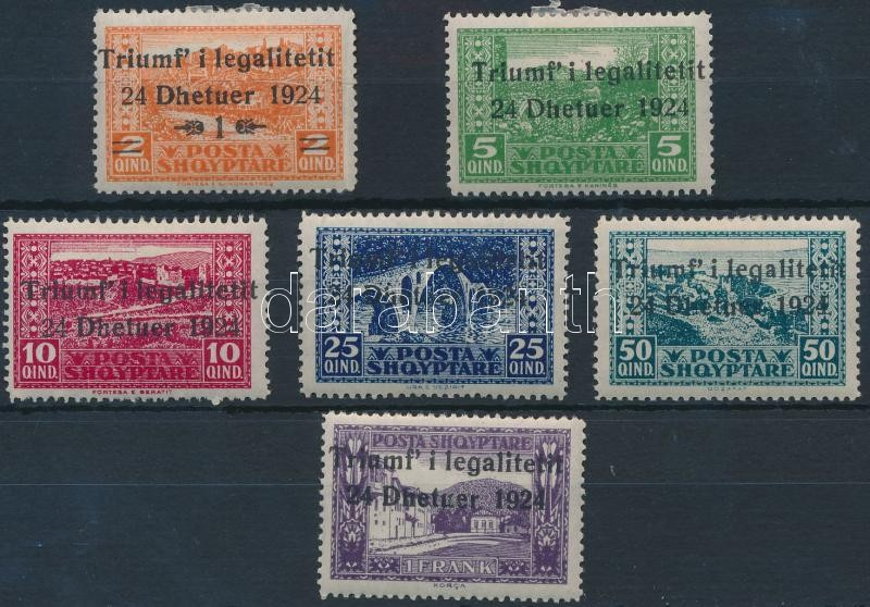 Constitutional 6 overprinted stamps, Alkotmány felülnyomott sor 6 értéke