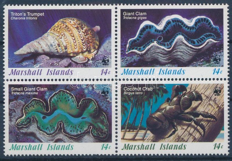 Sea snails and shellfish set block of 4, Tengeri csigák és kagylók sor 4-es tömbben