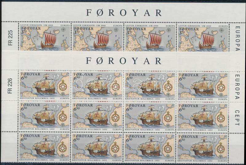 Europa CEPT, discovery of America set corner blocks of 12, Europa CEPT, Amerika felfedezésének 500. évfordulója sor ívsarki 12-es tömbökben