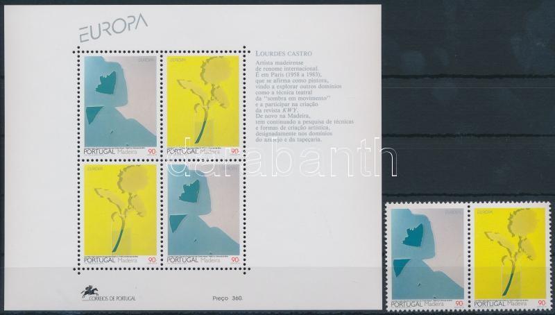 Europa CEPT, Contemporary art pair + block, Europa CEPT, Kortárs művészet pár + blokk