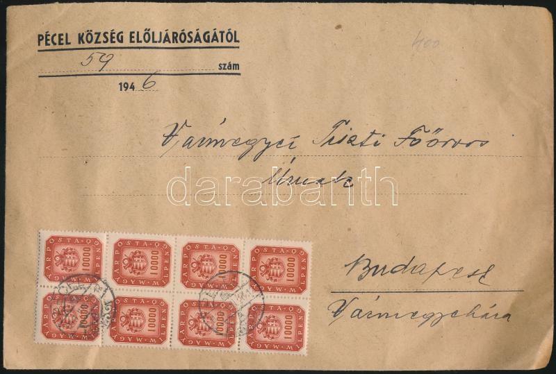 Inflation cover, (21. díjszabás) Távolsági nagy levél 40x10.000mP Milpengős bérmentesítéssel / Domestic cover franked with 40 stamps