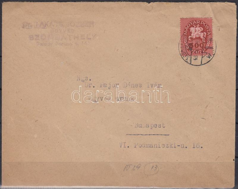 Inflation cover, (13. díjszabás) Távolsági levél Lovasfutár 500eP bérmentesítéssel