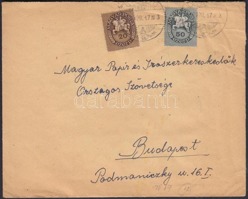 Inflation cover, (12. díjszabás) Távolsági levél Lovasfutár Köztársaság vegyes bérmentesítéssel, 1000P-vel alul bérmentesítve