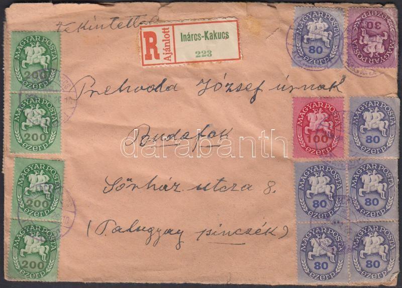 Inflation cover, (13. díjszabás) Ajánlott távolsági levél Lovasfutár Betűs II. vegyes bérmentesítéssel, 42 db bélyeggel (sérült boríték)