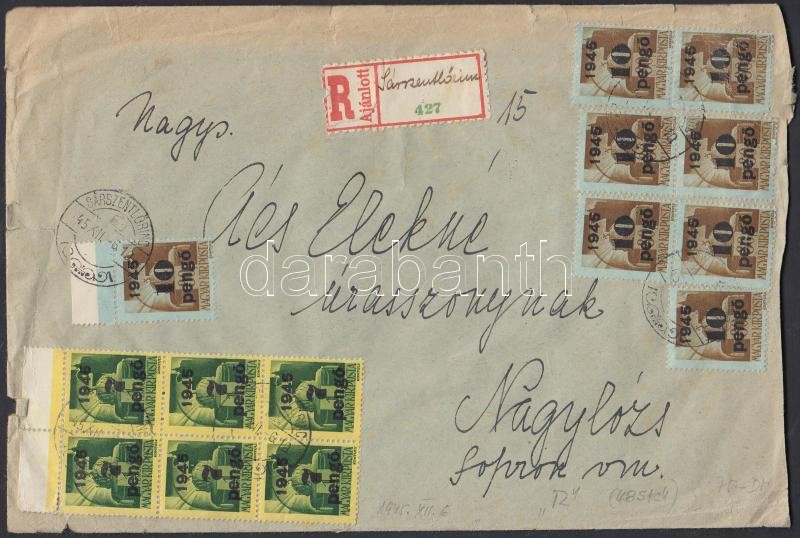 (5. díjszabás) Ajánlott távolsági levél 48 db Kisegítő (II) bélyeggel bérmentesítve, ragjegyen a hivatal neve kézírással van (sérült boríték), Inflation cover