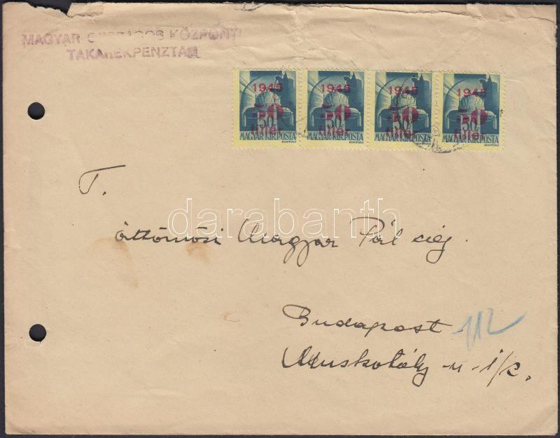 Inflation cover, (2. díjszabás) Helyi levél Kisegítő (I) 50f/50f négyescsíkkal bérmentesítve