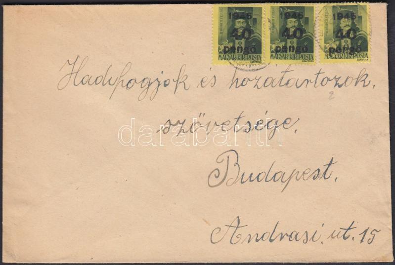Inflation cover, (5. díjszabás) Távolsági levél Kisegítő (III) 3x40P/8f bérmentesítéssel