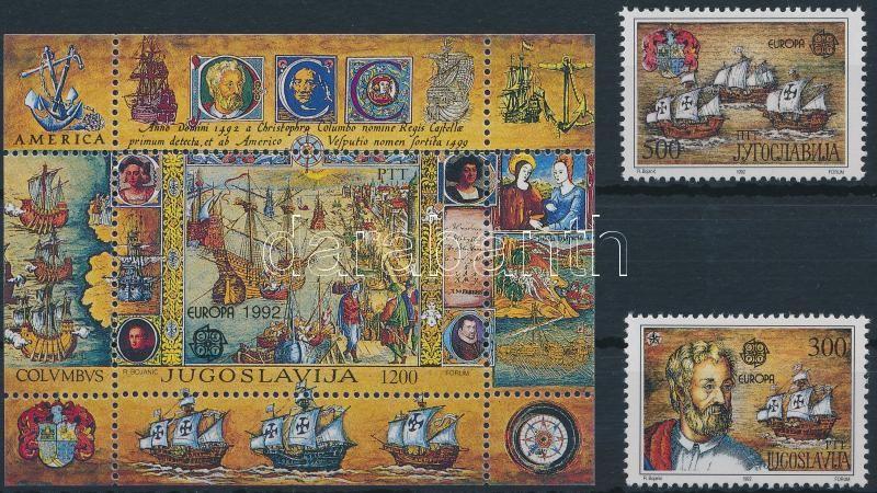 Europa Cept, 500th anniversary of the discovery of America set + block, Europa Cept, Amerika felfedezésének 500. évfordulója sor + blokk