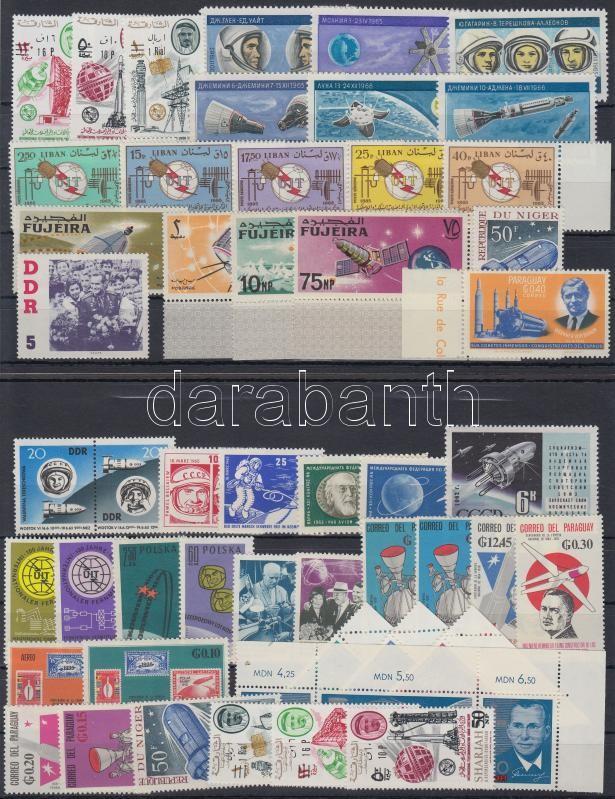 Space Exploration 1961-1967 13 diff sets + 9 diff stamps, Űrkutatás motívum 1961-1967 13 klf sor + 9 klf önálló érték 2 db stecklapon