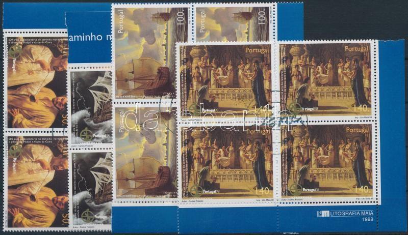 International Stamp Exhibition PORTUGAL set corner blocks of 4, Nemzetközi bélyegkiállítás PORTUGAL sor ívsarki 4-es tömbökben